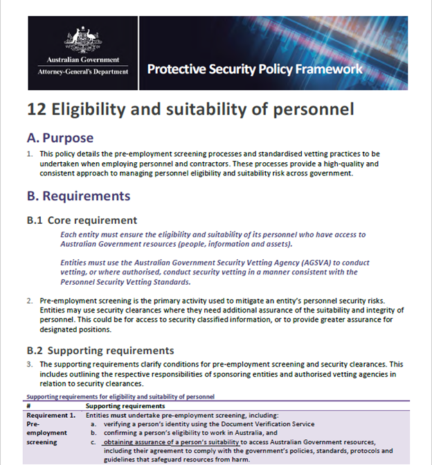 Protective Security Policy Framework