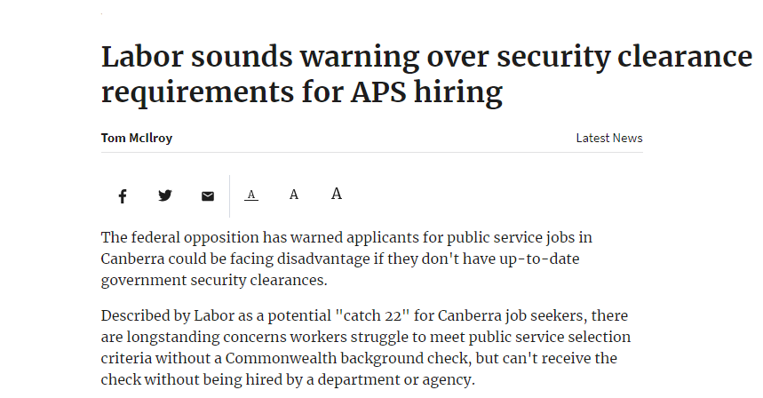https://www.canberratimes.com.au/story/6032491/labor-sounds-warning-over-security-clearance-requirements-for-aps-hiring/